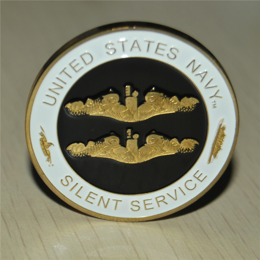 The United States SILENT SERVICE Navy Marine Corps Challenge Coin, 2PCS/Lot free shipping, Gold palted high quality coins