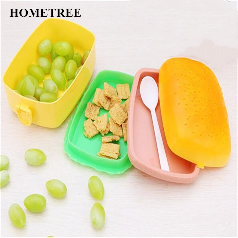 HOMETREE 1 Pcs New Creative Lunch Box Tools Round/Square Three Floor Hamburger LunchBox Food Container Bento Box Lunch Tool H581