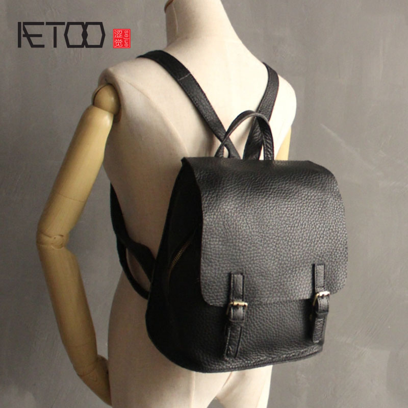 AETOO New handmade leather shoulder bag Korean version of the school wind leisure wild first layer of leather travel leather bag new korean version of the first layer of leather pillow bag large lychee pattern handbag shoulder messenger fashion leather leat