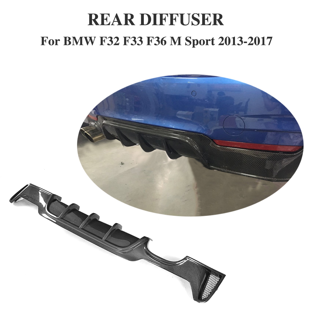 Rear Diffuser Lip Carbon Fiber Bumper Protector For BMW F32 F33 F36 M Sport 13-17 P Style Single exhaust two outlet f32 f33 f36 carbon fiber rear bumper lip diffuser spoiler for bmw f32 f33 f36 420i 428i 435i 420d 428d 435d m tech m sport