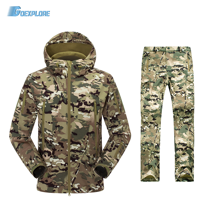TAD V4.0 Camouflage Shark Outdoor Waterproof Hiking Jacket Suit Men Army Hunting Set Military Hoody Softshell Jacket and Pants shark skin softshell tactical military camouflage pants men winter army waterproof warm fleece sport camo hunting outdoor pants