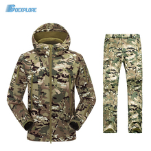 TAD V4 0 Camouflage Shark Outdoor Waterproof Hiking Jacket Suit Men Army Hunting Set Military Hoody