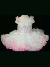 цены Beautiful Ball Gowns Flower Girls Cupcake Toddler Pageant Party Gowns Spaghetti Straps Organza Ruffles Beaded Glitz Baby Girl