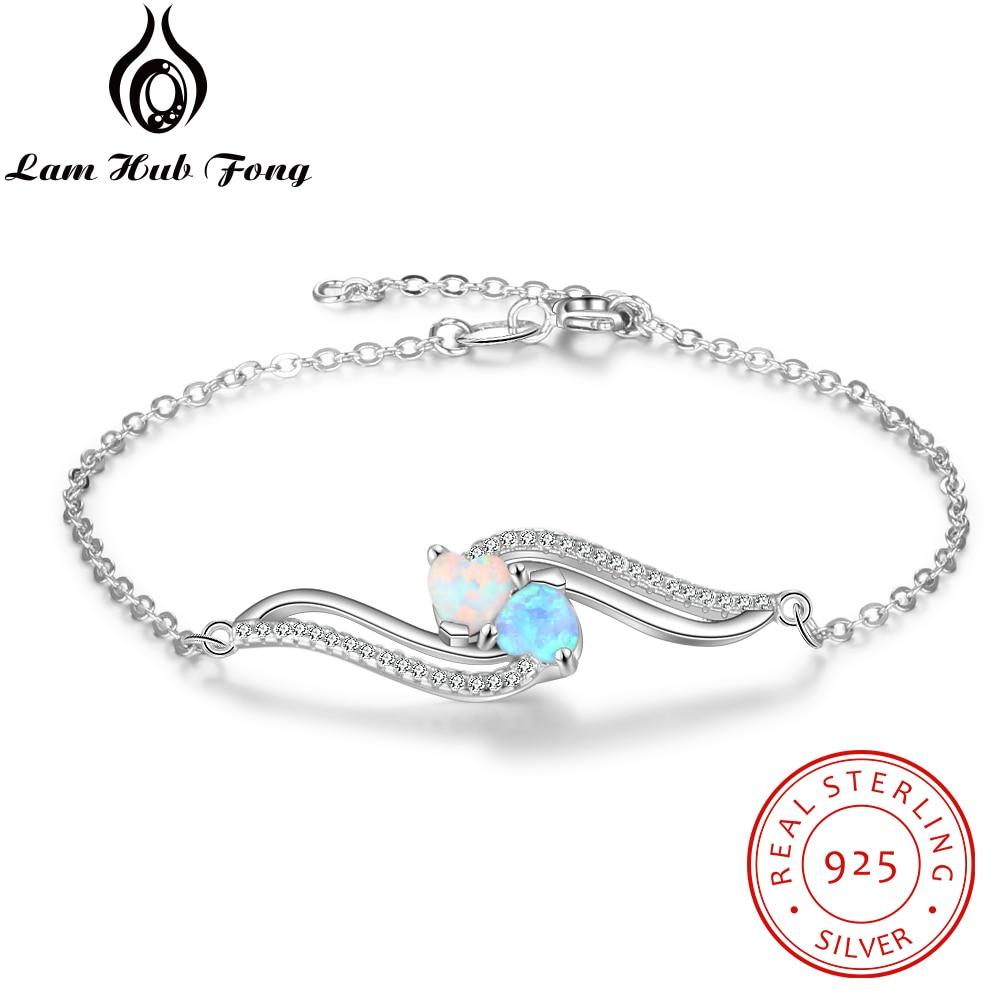 925 Sterling Silver Opal Bracelets For Women Wave Shape 2 Colors Blue White Opal Chain Bracelet Birthday Jewelry (Lam Hub Fong)