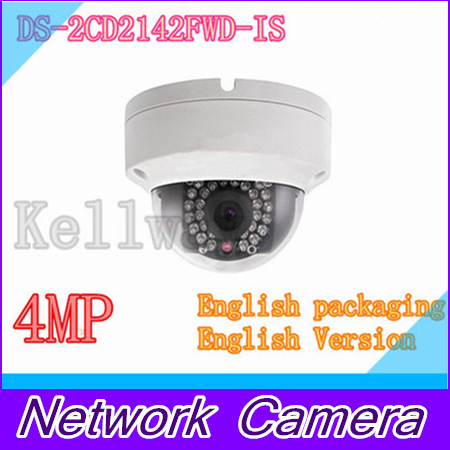 DHL Free shipping English version DS-2CD2142FWD-IS 4MP mini dome network cctv camera, P2P 1080p IP camera POE 120dB WDR free shipping in stock new arrival english version ds 2cd2142fwd iws 4mp wdr fixed dome with wifi network camera