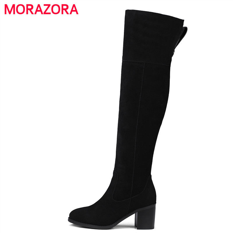 MORAZORA 2018 new over the knee cow suede leather boots round toe high heel fashion boots autumn winter square heel zipper boots morazora autumn winter new arrive women boots pointed toe zipper flock ladies boots square heel cross tied over the knee boots