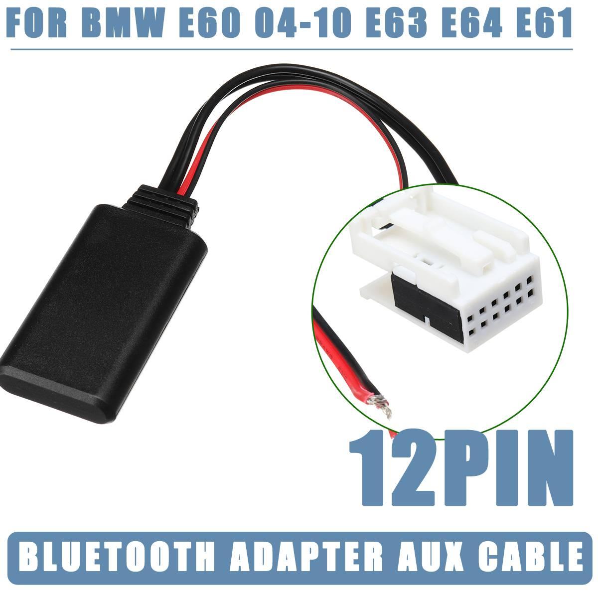JENOR 12 Pin Bluetooth Wireless Radio Stereo AUX IN Kabel Adapter Kompatibel f/ür BMW E60 04-10 E63 E64 E61E70 E90//E91 E92