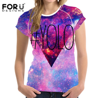 FORUDESIGNS 2017 Summer Colorful Galaxy Printed T Shirt Women Fashion Letter Short Sleeve O Neck Chic