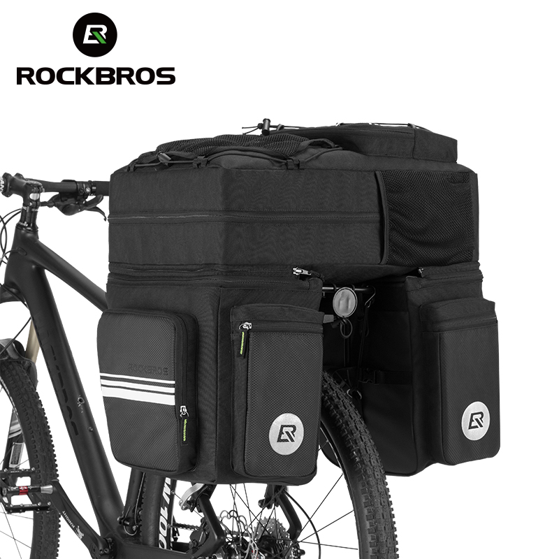 ROCKBROS 3 in 1 Waterproof Bicycle Bags Pannier 48L MTB Mountain Bike Rack Bag Bicycle Rear Seat Trunk Bag With Rain Cover rockbros 12l outdoor bicycle bag 3 in 1 cycling rear rack trunk travel bag pannier rain cover bike bag accessories 3 colors
