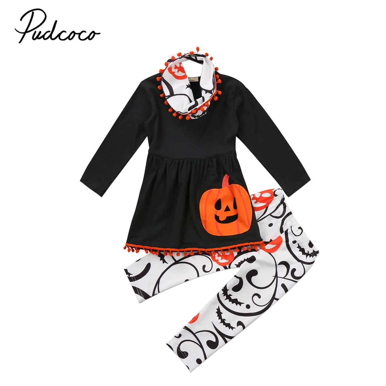 3pcs Infant Kid Girls Halloween Set Long Sleeve T-shirts Toddler Baby Girl Pullover Pumpkin Top Girls Print Pant Tassel Headband