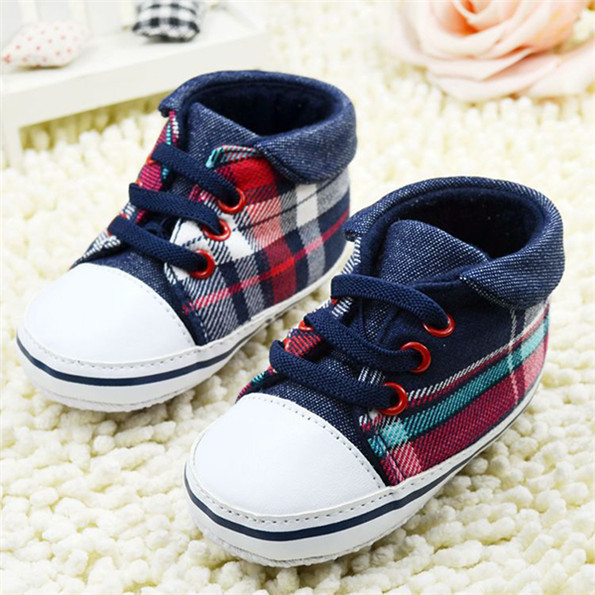 Cute Toddler Baby Boys Plaid Lace Up Soft Sole Shoes Infant Prewalker First Walkers