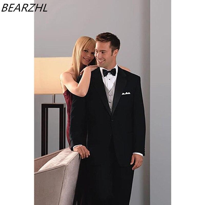 62a4ff4a1510 Мужские классические костюмы черного Жених костюмы человек на заказ костюм  смокинг для свадьбы комплект из 3 вещей