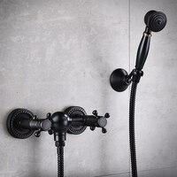 Смесители для ванной комнаты черный набор для душа Медь настенный ванны простой American Retro Для ванной комнаты Душ Системы аксессуары для ванн