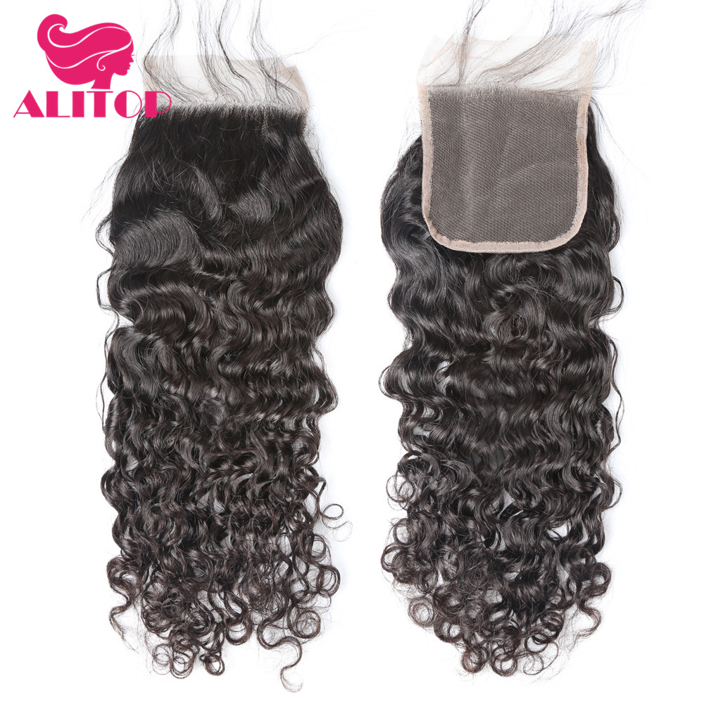 ALITOP Pre Plucked Brazilian Hair Water Wave Frontal Closure Non-remy Human Hair Frontal 4x4 Lace Frontal Closure With Baby Hair