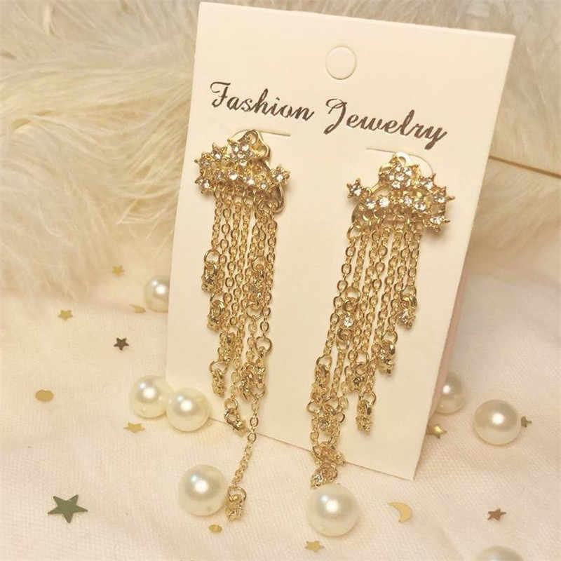 Moda kryształowe gwiazdkowe kolczyki złoty kolor opływowe długie kolczyki z frędzlami dla kobiet dziewczyna biżuteria prezent hurtownia