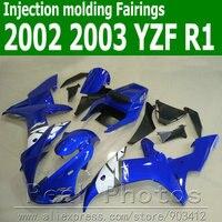 Injection molding full fairing kit for YAMAHA R1 2002 2003 white blue black YZF R1 02 03 bodywork fairings set JK46