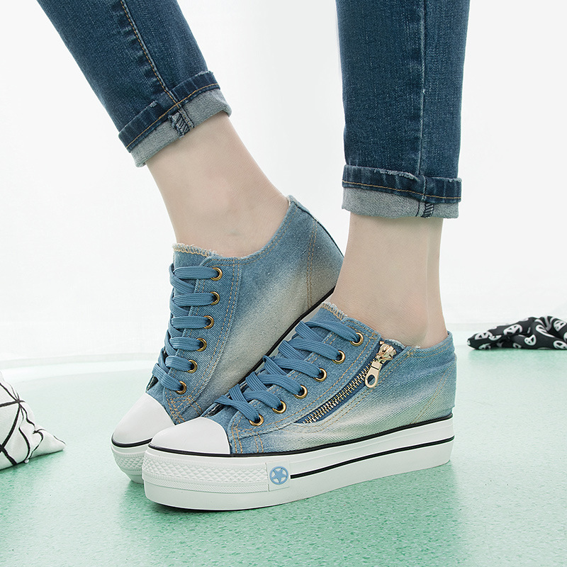 Increased Internal Women Vulcanize Shoes Platform sneakers Canvas Summer ladies casual shoes Slip-on Denim Blue female NLD904 free shipping 2018 women canvas shoes flats ladies platform shoes woman slip on sneakers leisure breathable female 16 color