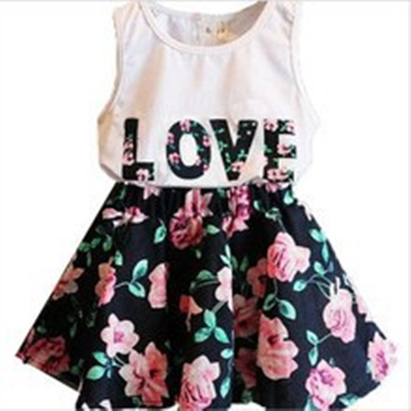 Girl 2pcs Suit Summer Clothing Set 2016 Kids Costume Baby Letter Shirt Tops+Floral Skirt Clothes Set Tees And Skirts pettigirl girls clothes set golden silk floral summer skirt with coat for girl kids costume cs90324 724f