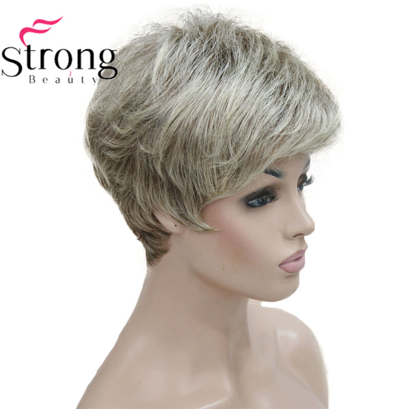 Image 3 - StrongBeauty Short Shaggy Layered Blonde Ombre Classic Cap full Synthetic Wig Women's Wigs-in Synthetic None-Lace  Wigs from Hair Extensions & Wigs