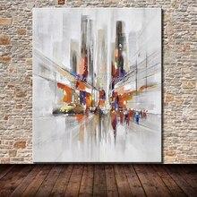 Mintura Art Ручная роспись городской пейзаж картина маслом на холсте поп-арт современная абстрактная Настенная картина для украшения стен без рамки