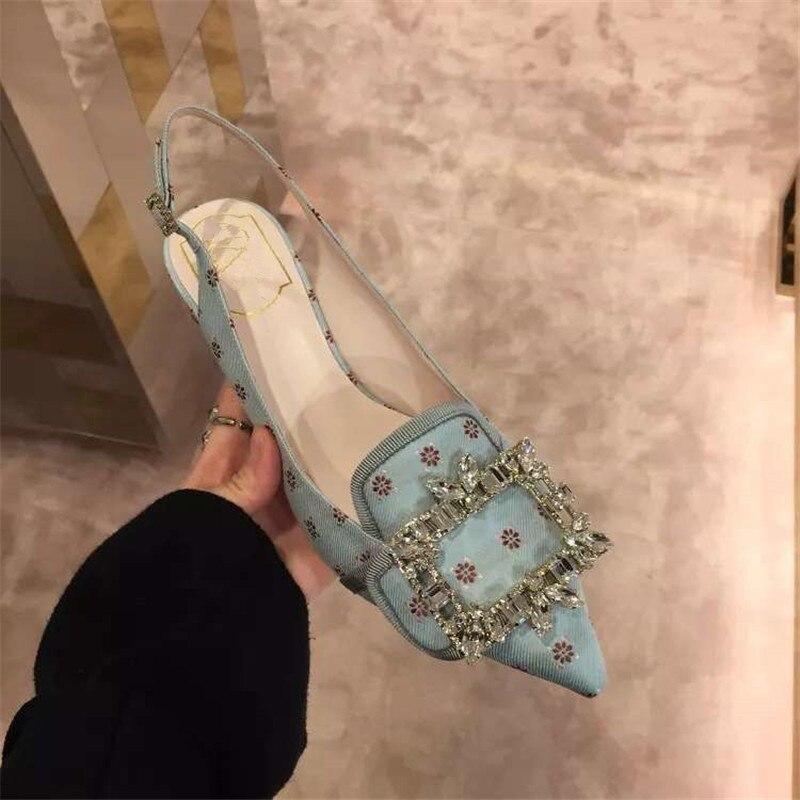 Kmeioo 2019 offre spéciale mode été chaussures femme bout pointu Med talons bijou sandales Slingback pompes cristal talons chaussures de mariage - 5