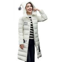 Письмо Печати женская Вниз Пальто С Длинным Рукавом Зимняя Куртка Женщин с Прекрасным Шляпа Манто Femme Hiver 2016 Мода Парки Casacos