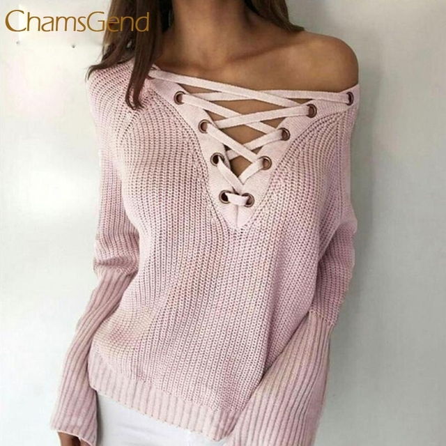 2017 Winter Women Lace up Sweater Solid Loose Pullover High . 466cb152f