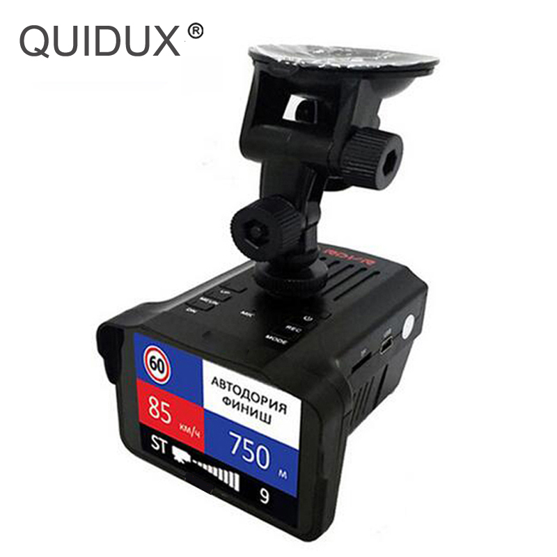 QUIDUX 2 In 1 Radar DVR 2.7LCD Russian/English Voice Speed Car DVR Camera Radar Detector Speed Combo Alarm for car Anti Radar