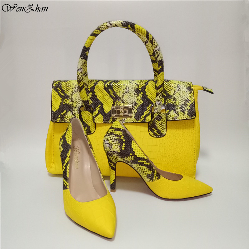 Yellow Women Handbag Shoes Mixed Snaker Leather Good Quality Soft Shoes With Big Bag Hot Selling! 36-43 WENZHAN Wholesale A93-19Yellow Women Handbag Shoes Mixed Snaker Leather Good Quality Soft Shoes With Big Bag Hot Selling! 36-43 WENZHAN Wholesale A93-19