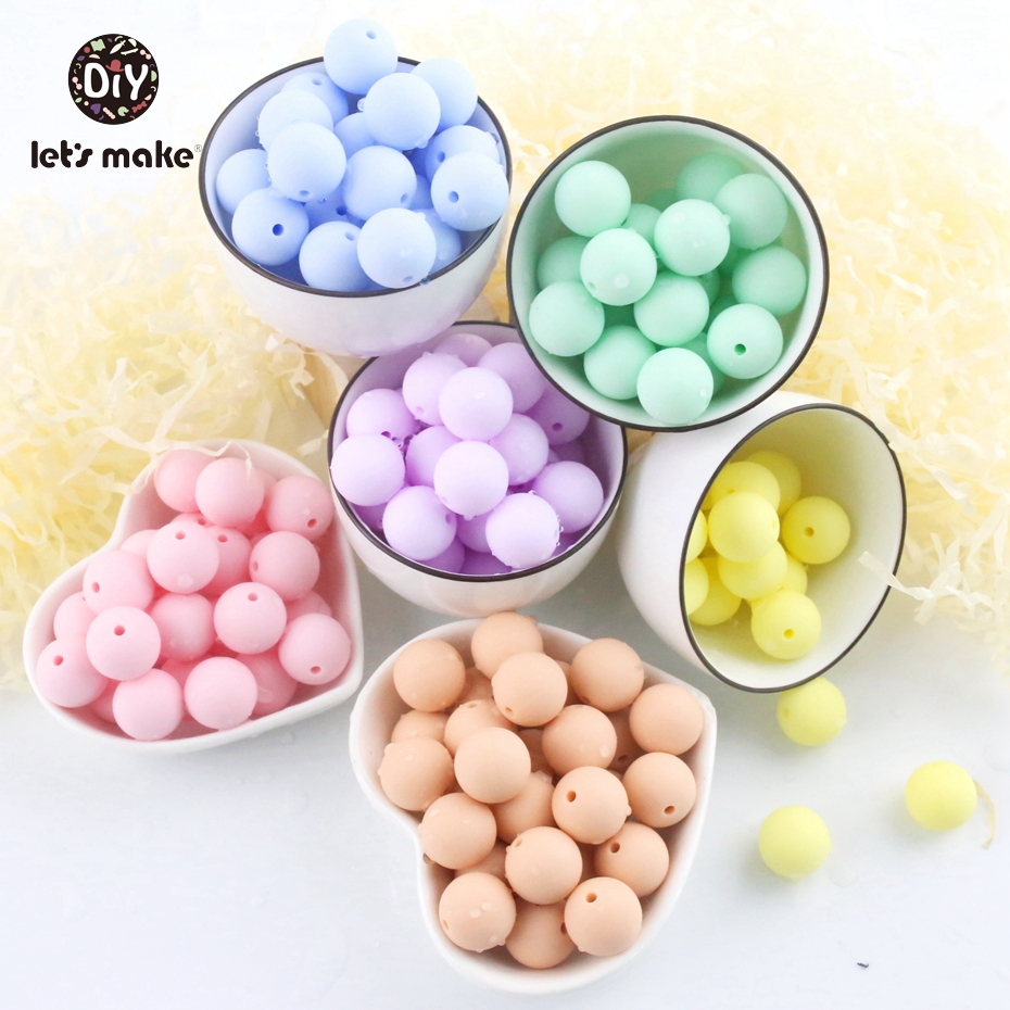 Let's Make 100pc Silicone Teether Round Candy Color 12-20mm Beads Accessories Infant Necklace Pendant DIY Nursing Baby Teether