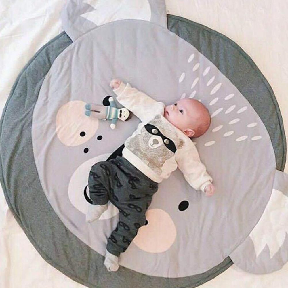Cute Cartoon Baby Crawling Pad Round Shape Child Play Game Mat Children Developing Carpet Toys Playmats
