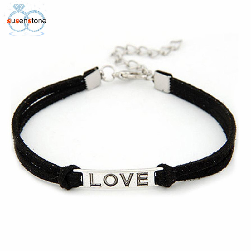 SUSENSTONE Braided Adjustable Leather Popular Bracelet Women Men Love Handmade Alloy Rope Charm Jewelry Weave Bracelet Gift #0 2