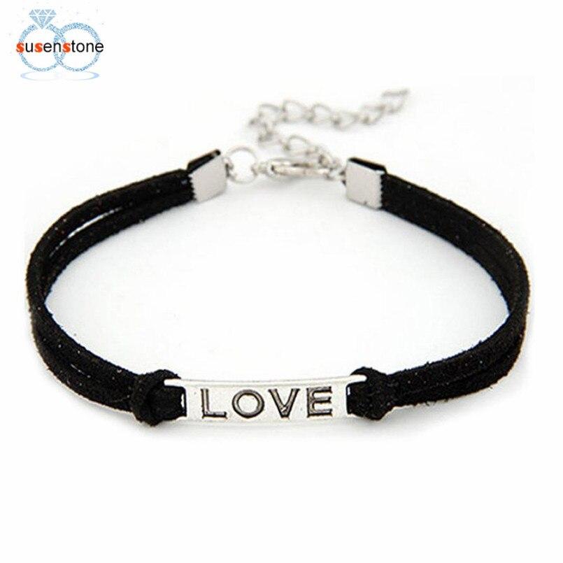 SUSENSTONE Braided Adjustable Leather Popular Bracelet Women Men Love Handmade Alloy Rope Charm Jewelry Weave Bracelet Gift #0 2