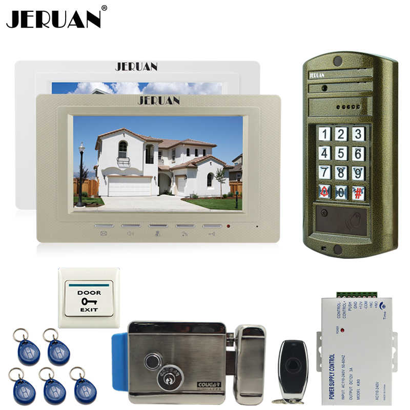 JERUAN Wired 7 inch Video Doorbell Intercom Door Phone System kit NEW Metal Waterproof Access Password keypad HD Mini Camera 1V2 jeruan wired 7 inch video doorbell intercom door phone system kit new metal waterproof access password keypad hd mini camera 1v3