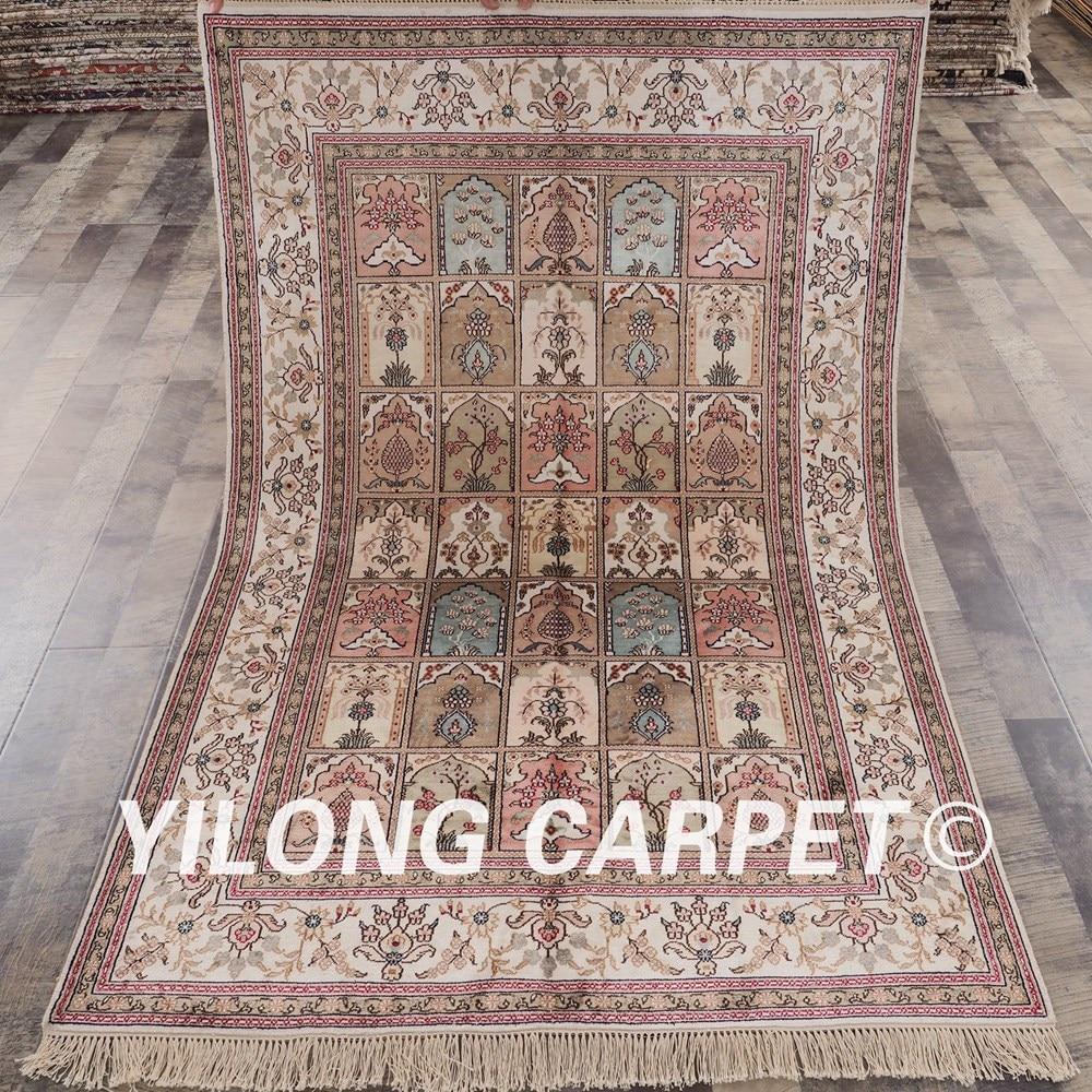 YILONG 4'x6' Persian handmade silk carpet four seasons vantage fine garden area rugs (YHW320B4x6)