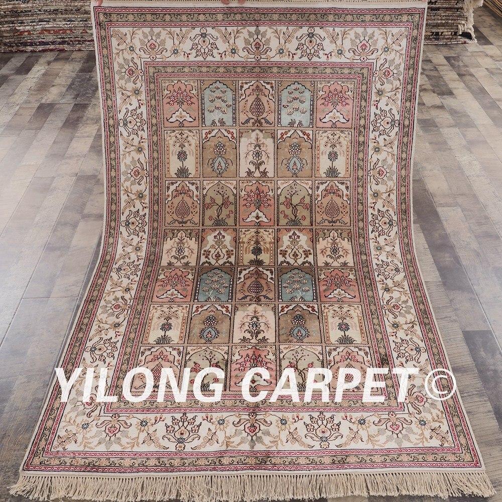 YILONG 4'x6 'tapis de soie fait main persan quatre saisons vantage beaux tapis de jardin (YHW320B4x6)