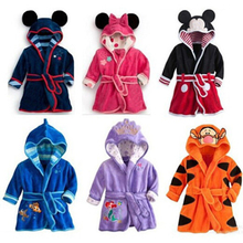 Купить с кэшбэком BFORTUNE Children Clothes Girls Boys Kids Cloth Minnie Mickey Soft Velvet Bathrobe Toddler Girl Boy Clothes Unisex Robe Pajamas