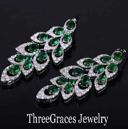 Noiva do Casamento do vintage Jóias Cubic Zircon Simulado Diamante Verde Longo Chandelier Dangle Brincos Para Noivas ER059