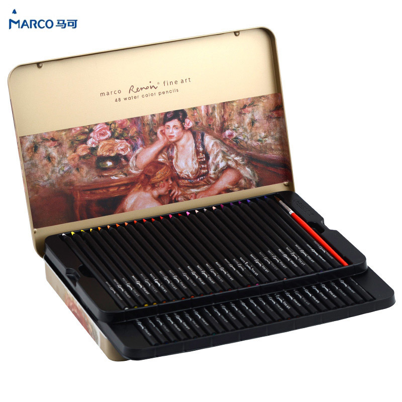 Marco 24/36/48 Color Pencil Black Wood Watercolor pencil Prismacolor Lapis de cor Colored Pencils for Drawing Art Supplies
