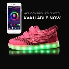 APP control LED Shoes kid Light Up Flash Luminous Shoes kid unisex Shoes Hook Toop Kids