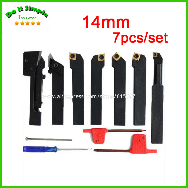 7pcs/set 14mm Hard Alloy Blade with Coating Turning Tool, CNC Lathe Tool Kits Cutter , Durable Cutting Tools 5pcs set 14mm indexable hard alloy turning tool lathe tool kits cutter durable cutting tools with wooden case