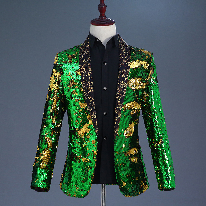 Fashion <font><b>Green</b></font> Gold Double-Color <font><b>Sequin</b></font> Blazer <font><b>Men</b></font> Wedding Groom Prom Tuxedo Suit <font><b>Jacket</b></font> DJ Singer Nightclub Stage Blazer Hombre image