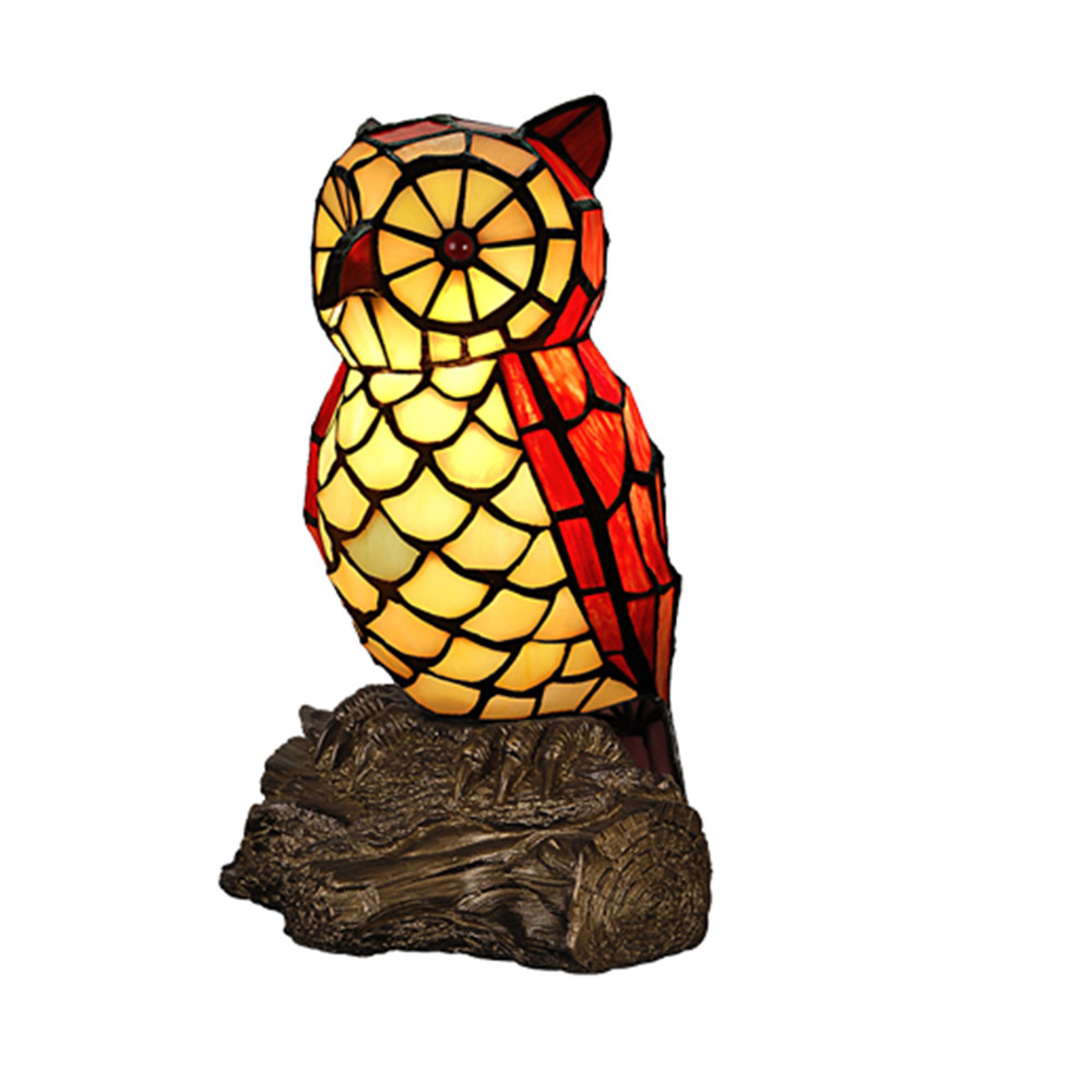 Personalized Tiffany Owl Table Lamp Night Light Resin Base