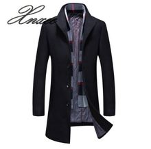Xnxee autumn and winter new mens woolen coat wool fashion scarf plus cotton jacket