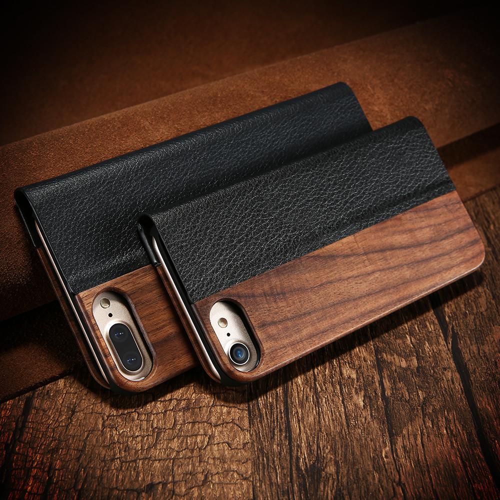 KISSCASE For iPhone 7 6 6s Plus Real Wooden Flip Case For iPhone 6 6s 7 Natural Wood PU Leather Stand Cover For iPhone 6 6s Plus