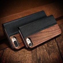 Kisscase для iPhone 7 6 6 S Plus реальные деревянные флип чехол для iPhone 6 S 7 натурального дерева искусственная кожа Стенд Крышка для iPhone 6/6 S Plus