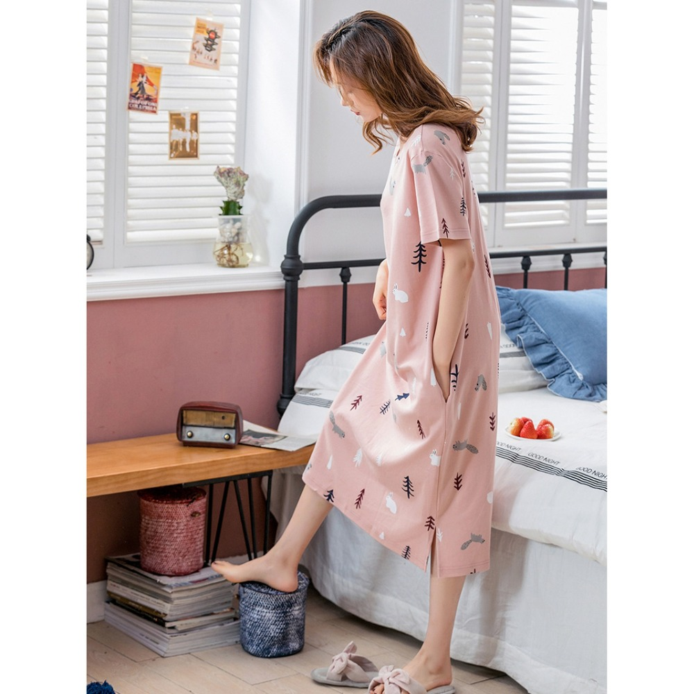 Women's Sleep Lounge   Nightgowns     Sleepshirts   Sleeping long Skirt Female Summer Cotton Short Sleeve Lovely Loose one piece Dresses