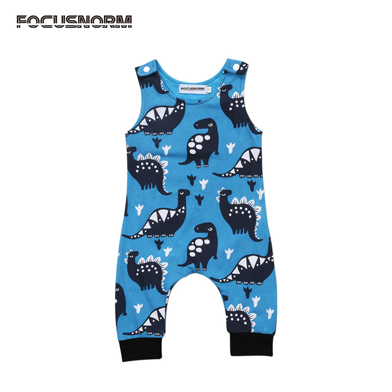 Newborn Infant Baby Boy Girl Dinosaur Romper Sleeveless Jumpsuit Playsuit One-Pieces Clothes Outfits