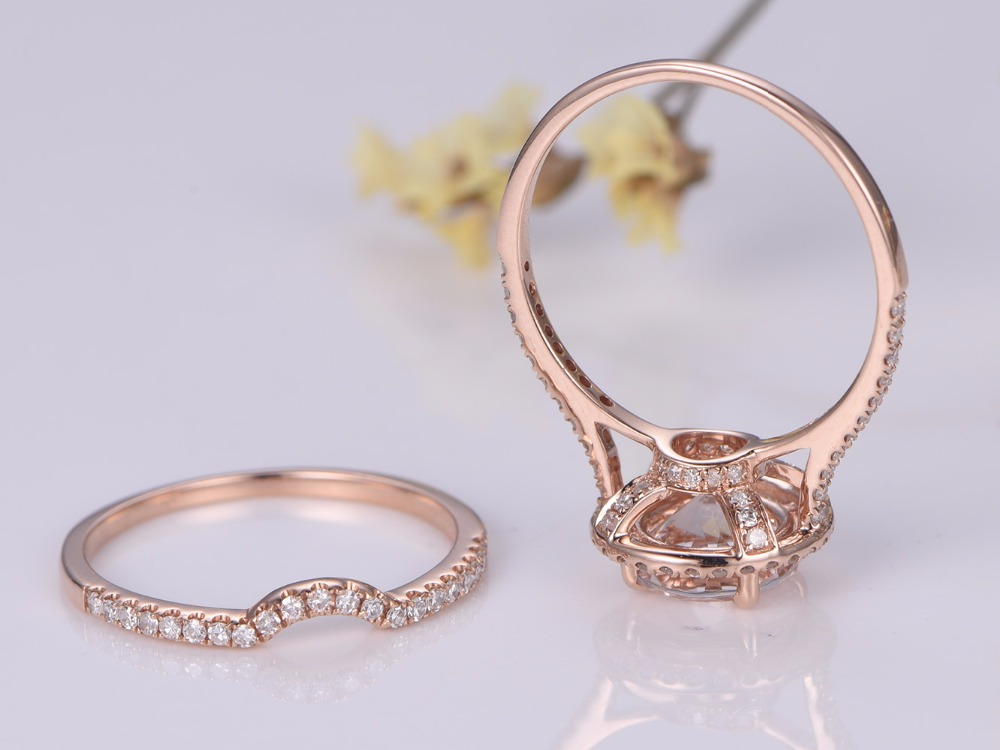 Myray Natural 7mm Round Cut Morganite Ring Set Diamond Wedding Band Simple Matching 14k Gold 2 Rings In From Jewelry Accessories On
