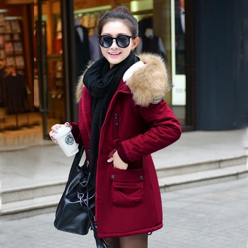 Mince O15 Rembourré Manteaux kaki Coton Capuchon rouge Femmes Vestes Qualité De 3 Solide Fourrure Femelle À bleu Noir Réglage Bonne Chaud Taille D'hiver 2016 Manteau 6SEwaHcyyq